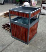 钢木单筒垃圾桶 景区方形果皮箱